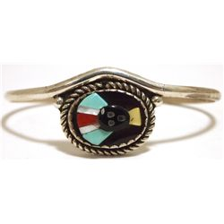 Old Pawn Zuni Multi-Stone Inlay Apache Face Sterling Silver Cuff Bracelet - Beverly Etsate