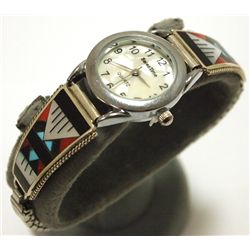 Zuni Multi-Stone Inlay Sterling Silver Women's Watch - Leander & Lisa Otholi