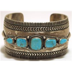 Old Pawn Navajo Sleeping Beauty Turquoise Sterling Silver Cuff Bracelet - Aaron Toadlena