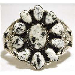 Navajo White Buffalo Sterling Silver Cuff Bracelet - Mary Ann Spencer