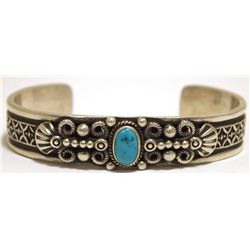 Old Pawn Navajo Sleeping Beauty Turquoise Sterling Silver Cuff Bracelet - Darrell Cadman