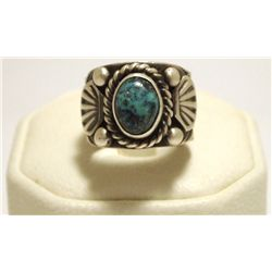 Navajo Turquoise Sterling Silver Men's Ring - Jerome Begay