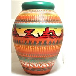 Navajo Painted Monument Valley Etched Pottery - Aaron Watchman