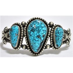 Old Pawn Navajo Spider Web Kingman Turquoise Sterling Silver Cuff Bracelet - Nelvin Burbank