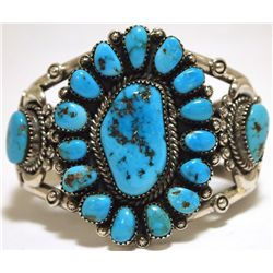 Old Pawn Navajo Sleeping Beauty Turquoise Sterling Silver Cuff Bracelet - Mary Morgan