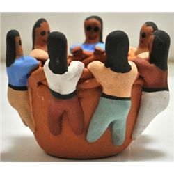 Navajo 7-Child Storyteller Bowl Pottery - Eva Plummer