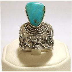 Navajo Turquoise Sterling Silver Tufacast Men's Ring - Philander B Begay
