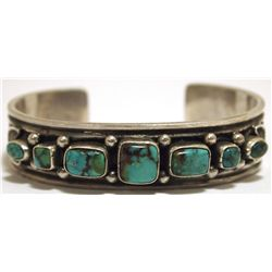 Old Pawn Navajo Mountain Turquoise Sterling Silver Cuff Bracelet - Sunshine Reeves