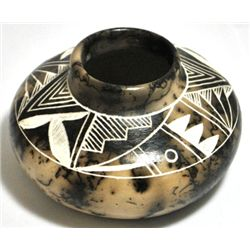 Acoma Pueblo Bird Etched Horsehair Pottery - Gary Yellow Corn Louis