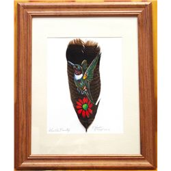 Navajo Gentle Beauty Hummingbird Feather Painting - Donovan Begay