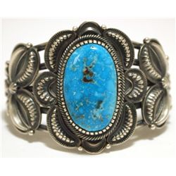 Old Pawn Navajo Kingman Turquoise Sterling Silver Cuff Bracelet - Kirk Smith