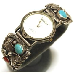Old Pawn Navajo Coral & Turquoise Sterling Silver Women's Watch - A