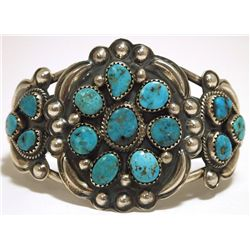 Old Pawn Navajo Morenci Turquoise Sterling Silver Cuff Bracelet - Henry Sam