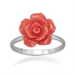 Glass Rose Ring sz 8