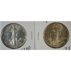 1937 & 41 WALKING LIBERTY HALVES BOTH BU