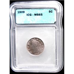 "1909 LIBERTY ""V"" NICKEL, ICG MS65 GEM!"
