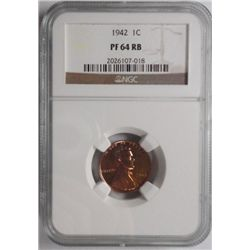 1942 proof   Lincoln penny  NGC 64RB