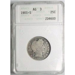 1901S  Barber quarter  ANACS03  sooo close to full good which GS at  $4100