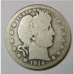 1914S  Barber quarter  just shy of full good key date GS = $102 in good