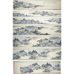 Chinese Watercolour Silk Scroll Pu Yi 1906-1967