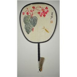 Qi Baishi Chinese Watercolour Fan on Silk