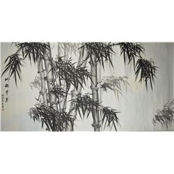 Chinese Watercolour Painting Scroll Bamboo Li Yue
