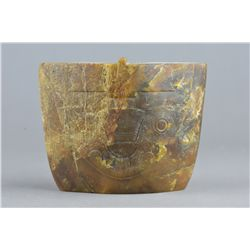 Chinese Liangzhu Culture Carved Brown Jade Cong