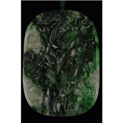 Chinese Carved Spinach Green Jade Pendant