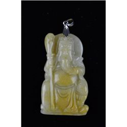 Chinese Carved White Jade Pendant 18K Gold