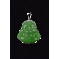 Chinese Carved Jadeite 14K White Gold Diamonds