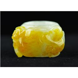 Chinese Carved White & Yellow Jadeite Ring