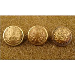 3 Civil War Original Small Gilt Buttons Horstmann Bros