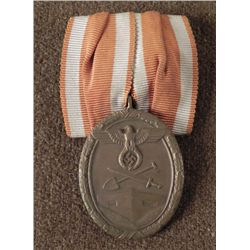 RARE ORIGINAL MOUNTING NAZI WESTWALL MEDAL AND RIBBON