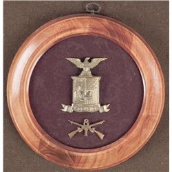 FRAMED SPANISH AMERICAN WAR 14TH NY RESERVE HAT DEVICE