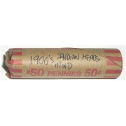 ROLL OF 1900'S INDIAN HEAD PENNIES *50 TOTAL UNSEARCHED MIXED* ROLL CAME OUT OF SAFE DEPOSIT BOX!!