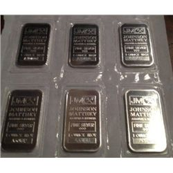 6 ONE OZ .999 PURE SILVER JOHNSON MATTHEY BARS