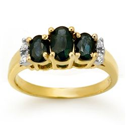 Genuine 1.33 ctw Sapphire & Diamond Ring Yellow Gold