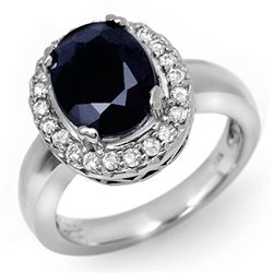 Genuine 4.65 ctw Sapphire & Diamond Ring White Gold