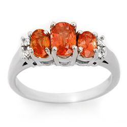 Genuine 1.14ctw Orange Sapphire & Diamond Ring 10K Gold