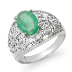 Genuine 2.87 ctw Emerald & Diamond Ring 14K White Gold