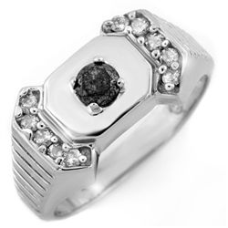 Natural 0.58 ctw Diamond Men's Ring 10K White Gold