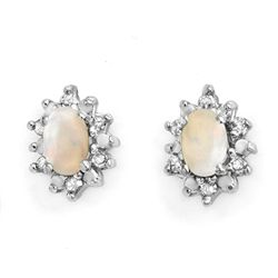 Genuine 0.45ctw Opal & Diamond Earrings 10K Yellow Gold