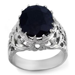 Genuine 12 ctw Blue Sapphire Men's Ring 10K White Gold