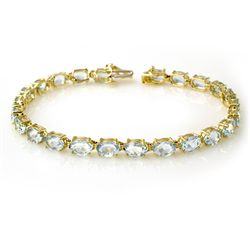 Genuine 12 ctw Aquamarine Bracelet 10K Yellow Gold