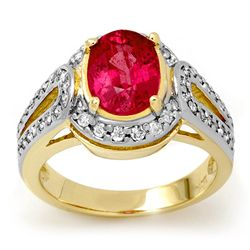 Genuine 3.5 ctw Pink Sapphire & Diamond Ring 10K Yellow Gold