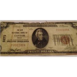 1928 SERIES RARE TAYLOR, TEXAS $20 NATIONAL BANK NOTE