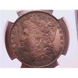 1885-O Morgan Dollar MS63 NGC Sundown Color Toning