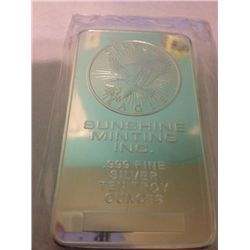 10 OZ .999 PURE SILVER SUNSHINE BAR WITH MORGAN INLAY