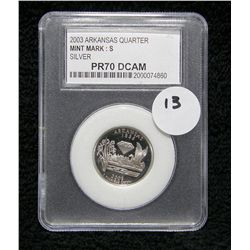 Perfect PR70 DCAM PCC 2003 S Arkansas Silver Quarter