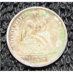 1887 Seated Liberty Dime VF-XF